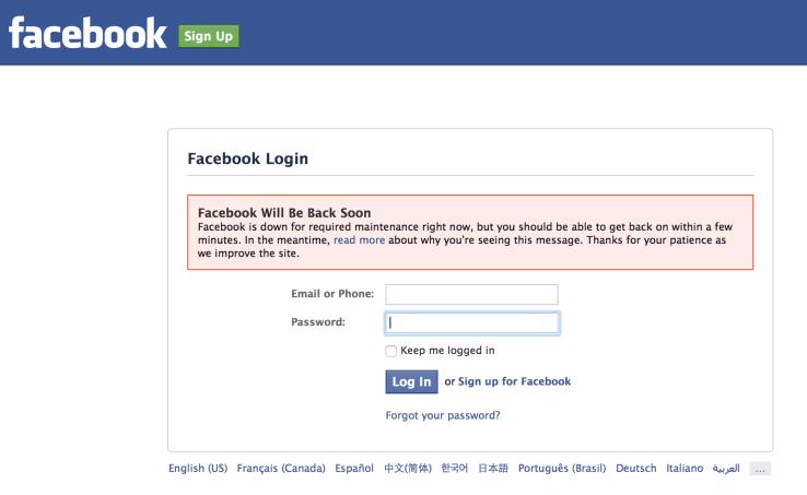 Facebook bảo trì