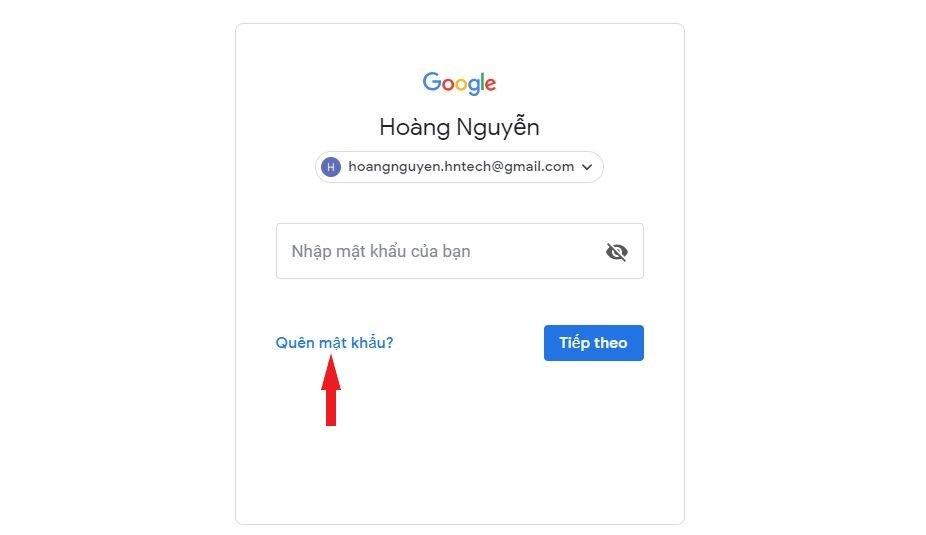 Click vào link Quên mật khẩu