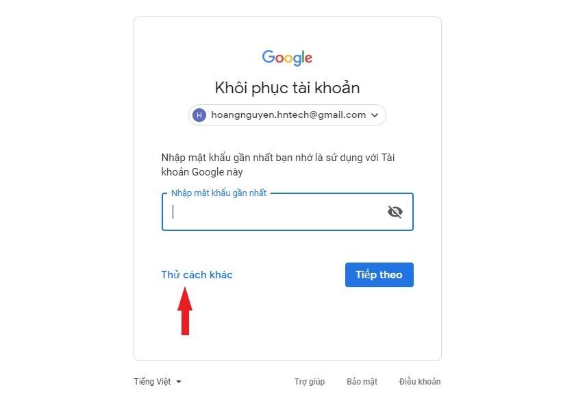 Thử cách khác lấy lại mật khẩu Gmail