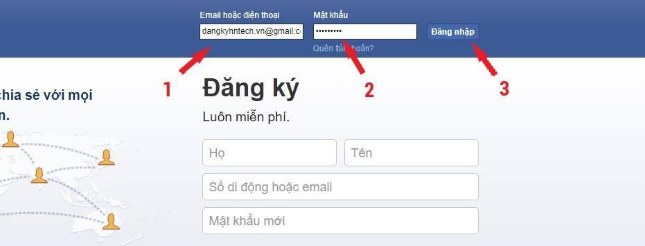Điền thông tin đăng nhập facebook nhanh