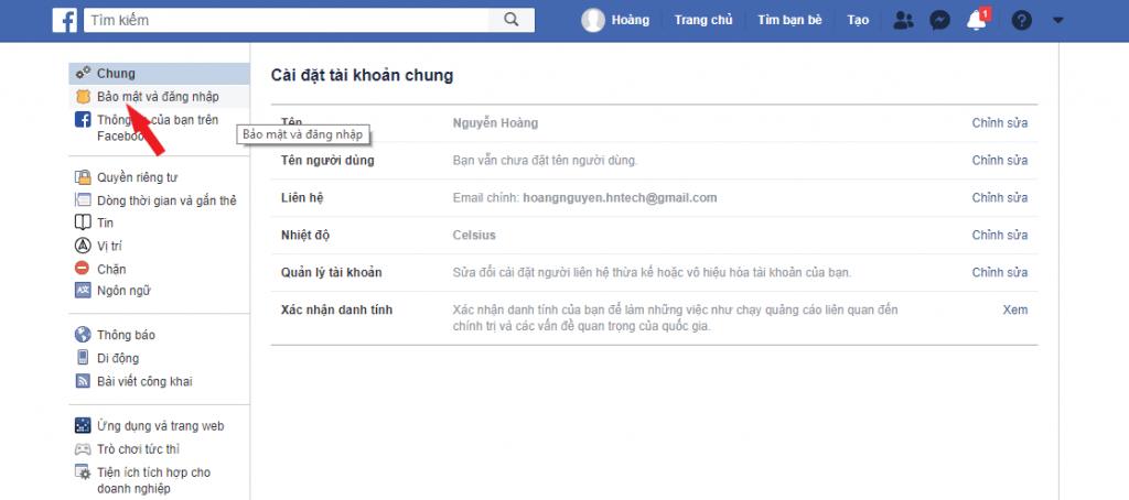 Chọn bảo mật và đăng nhập trong phần cài đặt facebook