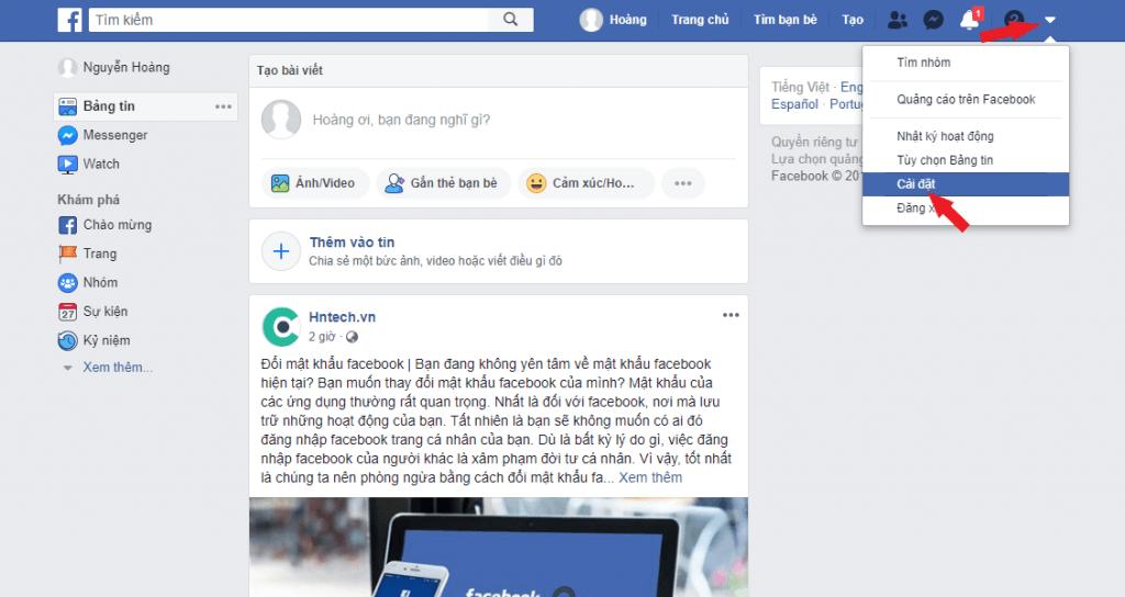 Cài đặt tài khoản facebook