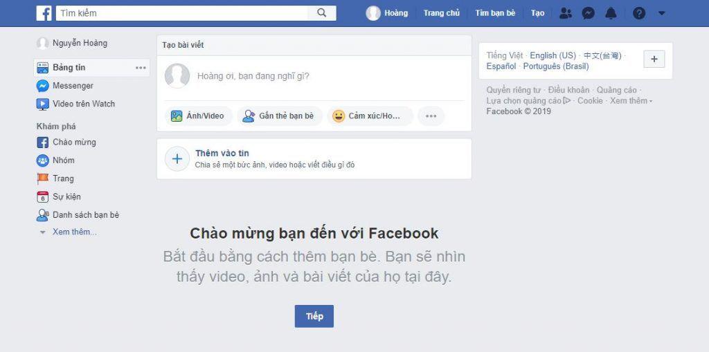 Đăng ký facebook mới thành công