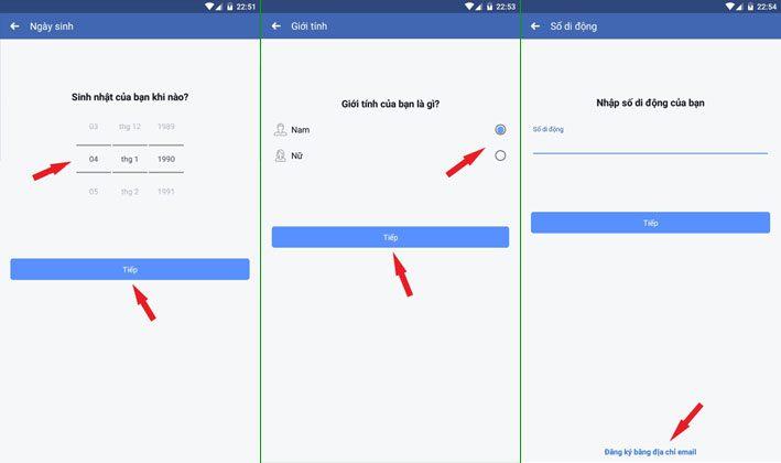 Chọn đăng ký facebook bằng Email