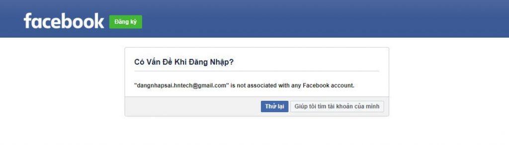 Đăng nhập facebook không được do nhập sai Email
