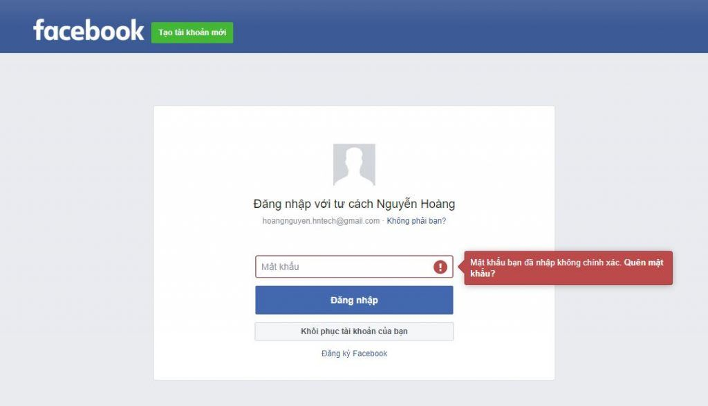 Đăng nhập không được do quên mật khẩu facebook