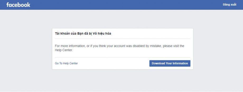 Không đăng nhập được facebook do tài khoản bị vô hiệu hóa