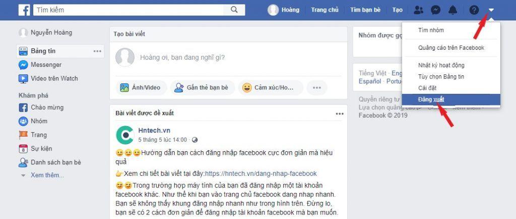 Đăng xuất tài khoản facebook