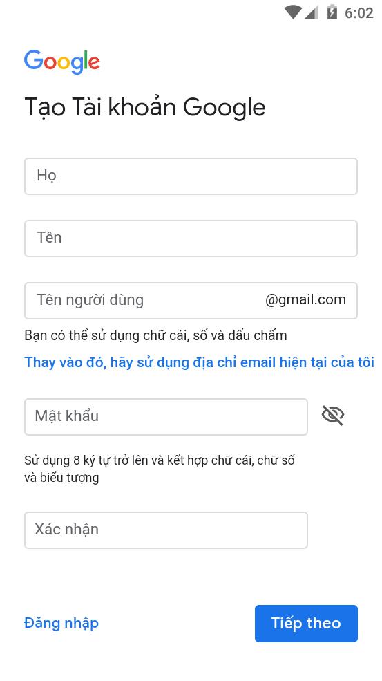 Điền thông tin tài khoản Gmail mới