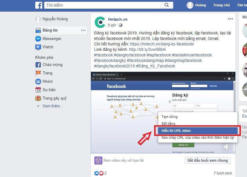 Hiển thị đường dẫn video facebook cần tải về