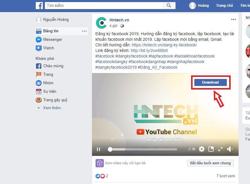 Nút Download trên video facebook sau khi cài tiện ích