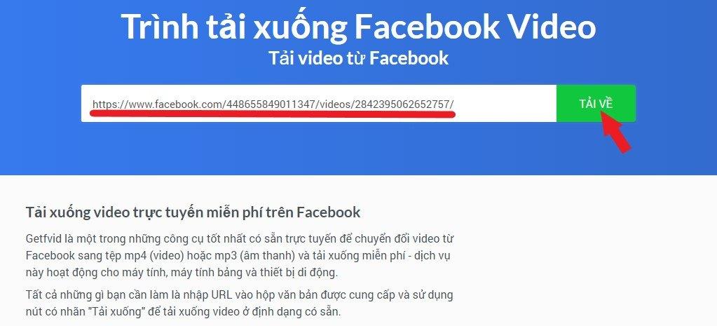 Tải video facebook thông qua Website getfvid.com