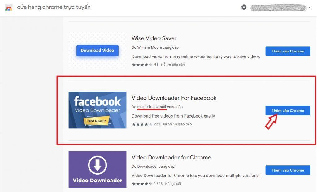 Tiện ích Download video facebook trên Chrome