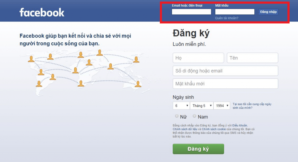 Khung facebook dang nhap nhanh ngay tại trang chủ.