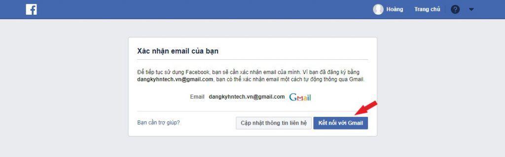 Xác nhận Email đăng ký facebook